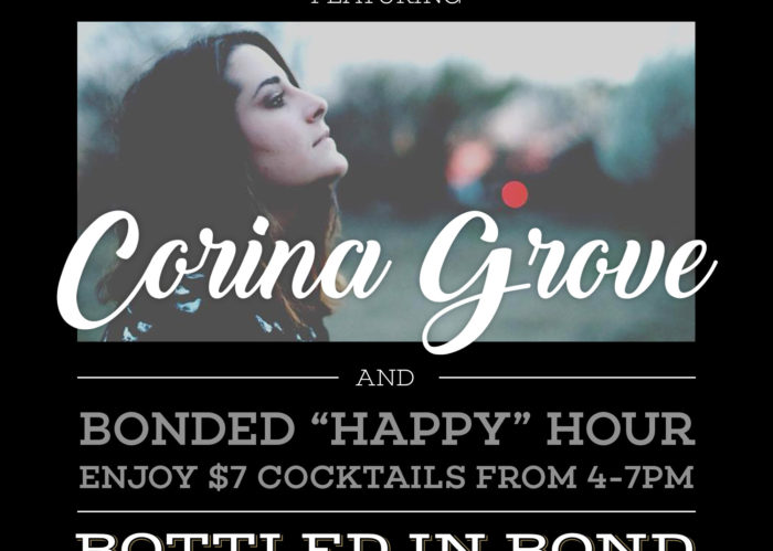 Live Music at Bottled in Bond Cocktail Parlour & Kitchen in Frisco, Texas on Friday, April 18th. Featuring guest musical artist Carina Grove. Carina will be on stage from 7:00 pm - 10:00 pm.