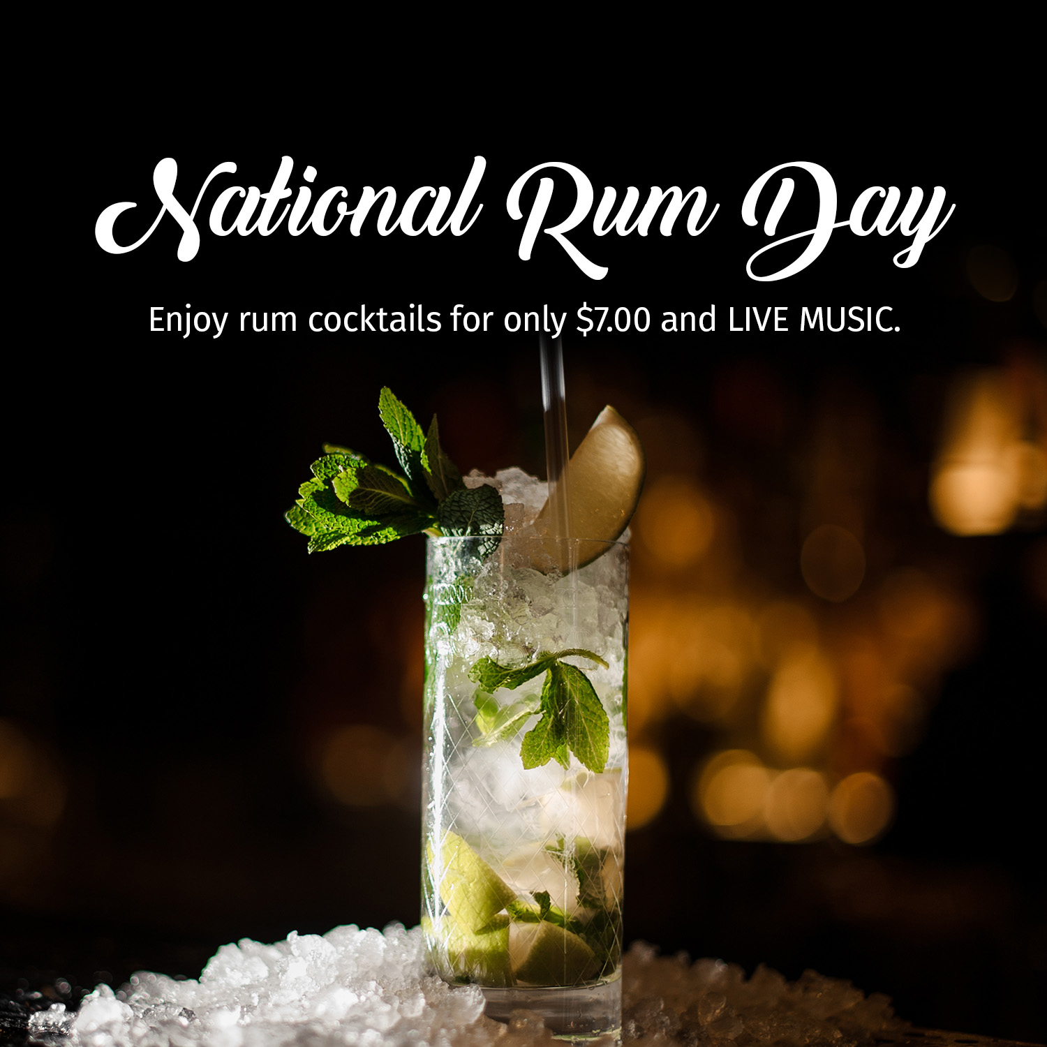 A picture of a Mojito Cocktail to celebrate National Rum Day 2019 at Bottled in Bond.