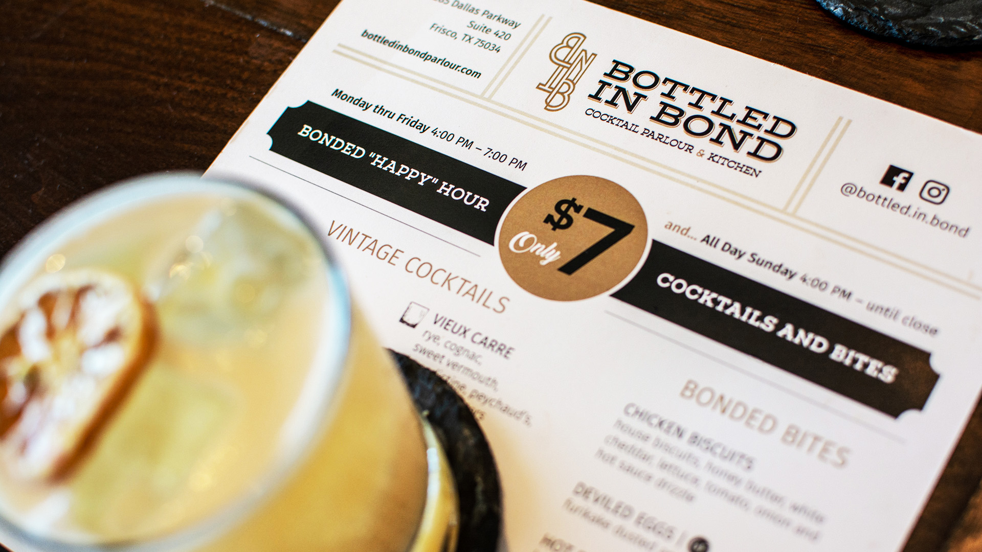 Bonded Hour Menu featuring $7 vintage cocktails and small plates