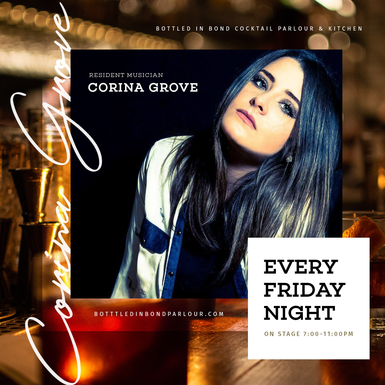 Corina Grove resident musician live music every Friday night at Bottled in Bond in Frisco, Texas