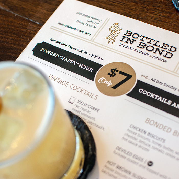 """Bonded """"Happy"""" Hour all day on Sunday at Bottled in Bond Cocktail Parlour & Kitchen in Frisco, Texas."""